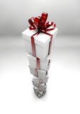 White gift boxes with red ribbons. Great christmas holidays or birthday background Stock Photo