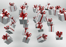 White gift boxes with red ribbons. Great christmas holidays or birthday background Royalty Free Stock Image