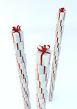 White gift boxes with red ribbons. Great christmas holidays or birthday background Royalty Free Stock Photography