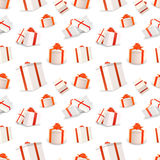 White gift boxes with red tapes and bows, seamless pattern Royalty Free Stock Photos