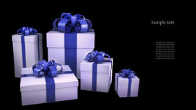 White gift boxes with ribbons and bows. Isolated on black background 3d render ( high resolution Stock Image