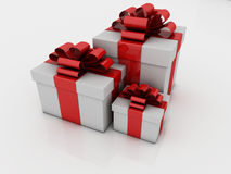 White gift boxes with ribbons and bows Stock Photo
