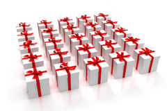 White gift boxes in a square Stock Images