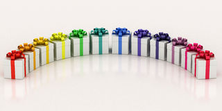 White gift boxes with varicolored ribbon Stock Photo