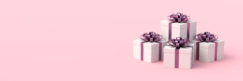 White gift boxes. With purple ribbon, on pink background. Concept for women, birthday, weddings, and others. 3D Rendering Royalty Free Stock Photo