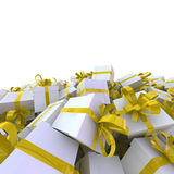 White gift boxes with yellow ribbons. Great christmas holidays background Stock Photo