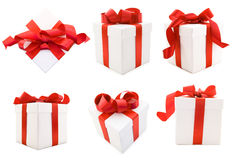 White Gift Boxs with Red Satin Ribbon Bow stock photos