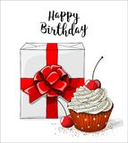 White Gift Boxt With Red Ribbon And Cupcake With White Cream And Cherry On White Background, Illustration Stock Photos