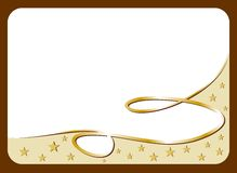 White gift card with golden ribbon Stock Image