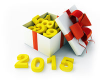 White gift and figures 2015. White gift box with figures and 2015 3d rendering Royalty Free Stock Photography