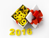 White gift and figures 2016. White gift box with figures and 2016 3d rendering royalty free illustration