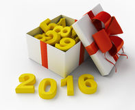 White gift and figures 2016 Royalty Free Stock Image