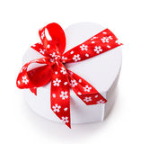 White gift heart box Stock Photography