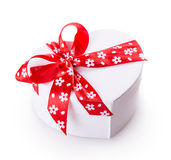White gift heart box Stock Images