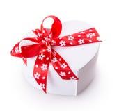 White gift heart box Stock Images