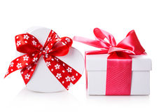 White gift heart box Royalty Free Stock Image