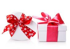 White gift heart box Royalty Free Stock Image