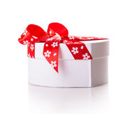 White gift heart box Stock Photo
