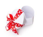White gift heart box Royalty Free Stock Photos