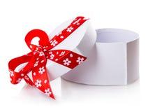 White gift heart box Stock Photography