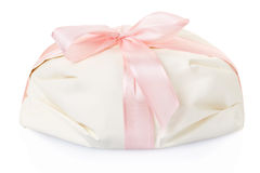 White gift present with pink satin ribbon Stock Photo