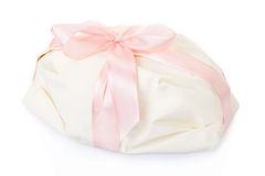 White gift present with pink satin ribbon Stock Images