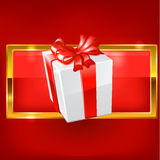 White gift on red background Stock Photography