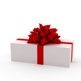 White gift with red ribbon Stock Photos