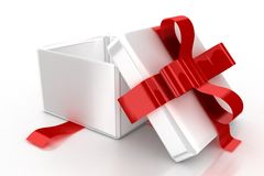 White gift with red ribbon Stock Photo