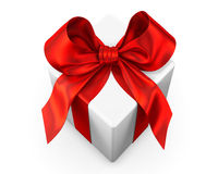 White gift with red ribbon Royalty Free Stock Photo