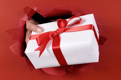 White gift with red ribbon being delivered or giving through a red torn paper background Stock Photography