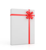 White gift with red ribbon and bow. On a white background Stock Photos