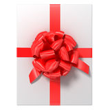 White gift with the red ribbon Royalty Free Stock Images