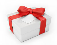 White gift with red ribbon isolated on white background Royalty Free Stock Images