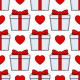 White Gift Red Ribbon Seamless Pattern. A seamless pattern with white gifts with red ribbons, isolated on white background. Useful also as design element for Royalty Free Stock Images