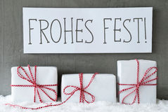 White Gift On Snow, Frohes Fest Means Merry Christmas Royalty Free Stock Images