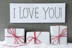 White Gift On Snow, Text I Love You Stock Image