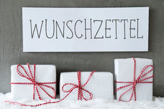 White Gift On Snow, Wunschzettel Means Wish List Stock Image