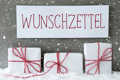 White Gift With Snowflakes, Wunschzettel Means Wish List Royalty Free Stock Image