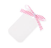 White gift tag with diagonal satin ribbon bow---with clipping pa Stock Photos