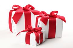 White Giftbox. On white background royalty free stock image
