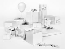 White gifts boxes with silver bows, balloon isolated on white ba. Ckground Royalty Free Stock Images