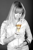 White girl. A beauty girl with a glass of wine Royalty Free Stock Photo