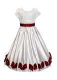 White girl dress with red bows isolated Royalty Free Stock Image