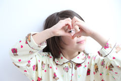 Pajamas White Girl Heart Hands Royalty Free Stock Photos