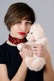 white girl posing with teddy bear Royalty Free Stock Photos