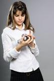 White Girl Studying Photo Camera Stock Photos