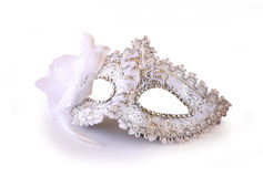 White glamor carnival mask isolated on white Stock Photo