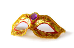 White glamor carnival mask isolated on white.  Royalty Free Stock Photos