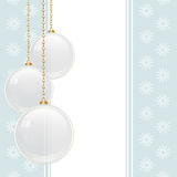 White Glass Baubles On A Blue Background Stock Images